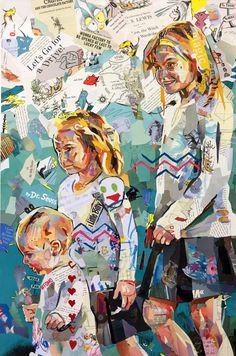 #lovely and #original #mixed #media #collage #artwork of #sisters by the very talented Patrick Bremer