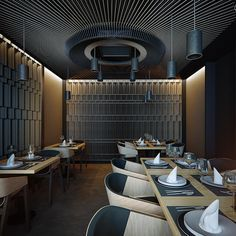 The lighting design enlightens this restaurant and creates a true luxury experience. Feel inspired by a contemporary and luxurious lighting collection at www.luxxu.net