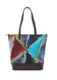 A beautiful and unique statement bag that is perfect for your collection! Shop artistic statement bag's created by designers all around the world. Night Flowers, Summer Flowers, Green Handbag, Green Bag, Black And White Abstract, Blue Abstract, Blue Leaves, Fire And Ice, Winter