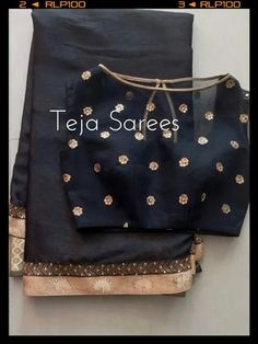 Simple black saree with high boat neck net blouse Sari Blouse Designs, Saree Blouse Patterns, Blouse Styles, Lehenga Blouse, Indian Attire, Indian Ethnic Wear, Indian Dresses, Indian Outfits, Black Saree