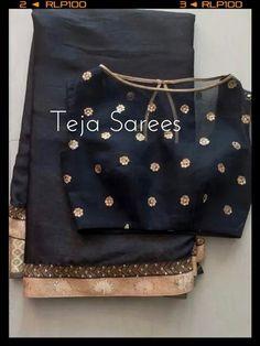 Simple black saree with high boat neck net blouse Sari Blouse Designs, Saree Blouse Patterns, Blouse Styles, Lehenga Blouse, Saree Styles, Indian Attire, Indian Ethnic Wear, Indian Blouse, Indian Dresses