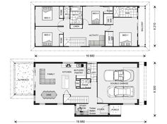 Pine Rivers 236 - Metro, Home Designs in Sydney - North (Brookvale) Garage Apartment Plans, Garage Apartments, Narrow House Plans, House Floor Plans, Display Homes, Garage House, Plan Design, Architecture, Home Builders