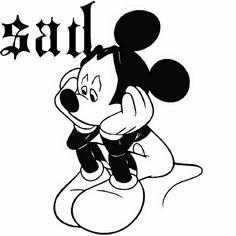 Disneys Mickey Mouse Sad Coloring Page