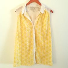 SUPER CUTE! lucky brand eyelet top Worn once, in great condition, button up with collar and easy, swingy fit. Lucky Brand Tops Button Down Shirts