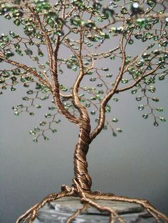Metallic Olive Beaded Bonsai Wire Tree Sculpture @Talena Born Watts