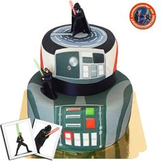 Star Wars Luke Skywalker Darth Vader auf zweistöckiger Raumstation Torte - die 2-stöckige Torte mit Luke Skywalker und Darth Vader ist der Hit für alle Star Wars Fans #StarWars #DarthVader #Geschenkidee #Torte