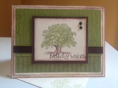 """masculine birthday- Weathered Background;  So Happy for You; Lovely as a Tree (very vanilla base & 4x5-1/4"""", 2-1/2x3""""; designer series paper 2x5""""; old olive 2-3/4x5"""")- stampin up card"""
