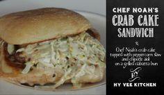 Ciabatta bun, crab cake & slaw!! Yum!