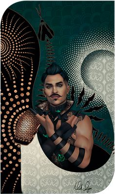 """mrnicholas: """" Finished Dorian! I'm actually pretty happy with this one! Though I don't think I got his face quite right. XD But I had a lot of fun with the design. I don't know if I'll do a Cullrian romance card next or Varric….or someone..."""
