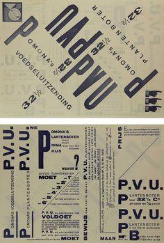 Variação de tamanhos e diversas direcções organizadas geometricamente criando ângulos entre si. Criação de um ritmo na composição. Piet Zwart - Pomona's Plantenboter, (Margerine) 1923