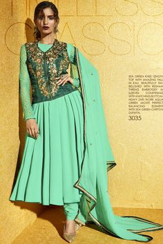 Sea Green Georgette Knee Length Top Embellished with Resham Thread Salwar Suit at Lalgulal.com. To Order :- http://goo.gl/KTmDOs To Order you Call or Whatsapp us on +91-95121-50402. COD & Free Shipping Available only in India.
