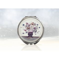 Floral compact mirror, flower purse mirror, round hand mirror, handbag... (£9.88) ❤ liked on Polyvore featuring beauty products and beauty accessories