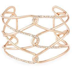 Alexis Bittar Rose Golden Barbed Crystal Cuff Bracelet found on Polyvore