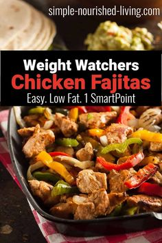 Looking for a low-cal or low-carb option for fajitas? We've got you covered!Fajitas are AWESOME, easy to make, and can definitely be made light and healthy. They one of my favorite Weight Watchers Dinner Recipes. Healthy Chicken Fajitas, Chicken Fajita Recipe, Chicken Recipes, Ww Recipes, Easy Healthy Recipes, Easy Meals, Cooking Recipes, Mexican Recipes, Healthy Meals