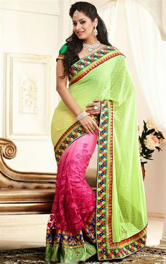 Picture of Stunning Pink and Honeydew Party Wear Saree