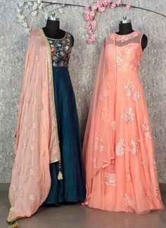 Beautiful Silk and organza weave Silk Anarkali Gown. Embellished with hand embroidery work and golden work. Paired with net embellished dupatta. Silk Anarkali Suits, Anarkali Gown, Lakme Fashion Week 2017, Western Dresses, Western Gown, Plain Dress, Prom Dresses, Formal Dresses, India Fashion