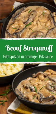 Boeuf Stroganoff: Russian fillet tips in a creamy sauce - Rezepte - Beef Stroganoff Ground Beef Crockpot Recipes, Healthy Beef Recipes, Stew Meat Recipes, Beef Recipes For Dinner, Ground Beef Stroganoff, Boeuf Stroganoff Rezept, Stroganoff Recipe, Beef Recipe Instant Pot, Tapas