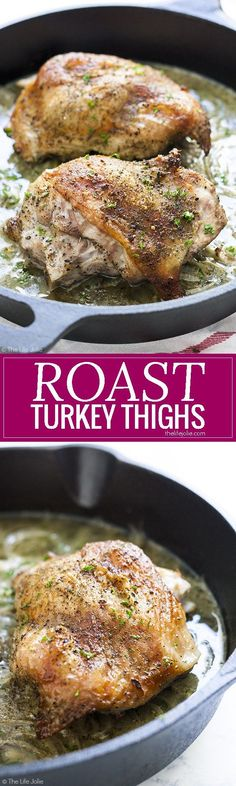Roast Turkey Thighs for Two is one of my favorite turkey meat recipes. This easy and healthy turkey dish is a great option for tender roasted turkey with crispy skin and minimal dishes for you to wash! This includes simple directions for how to cook this