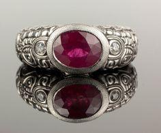 Alex Sepkus SIGNED Designer Platinum 950 2CT Bezel Set Ruby Diamond Ring Size 7 #AlexSepkus