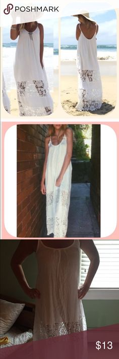 """White cotton and lace long dress/ beach cover-up White, cotton and lace dress. I bought it on-line, as a dress. When I received it, it is more suitable as a beach cover-up. Runs on the smaller side. 44"""" long, from the front of the dress, to the bottom. NWT Dresses Maxi"""