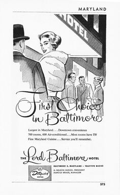 1950s Hotel Advertisement - Lord Baltimore Hotel Baltimore Maryland