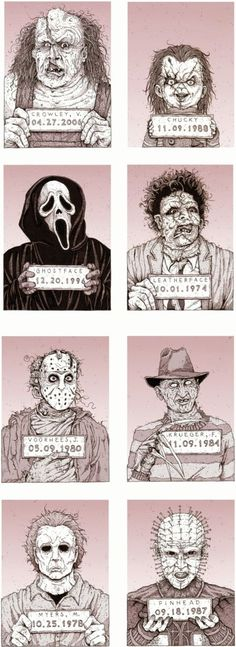 Monster MugShots by Cody Schibi. The series includes Jason Voorhees (Friday the 13th), Freddy Krueger (A Nightmare on Elm St.), Michael Myers (Halloween), Pinhead (Hellraiser), Victor Crowley (Hatchet), Chucky (Child's Play), Ghostface (Scream), Leatherface (Texas Chainsaw Massacre), Sam (Trick 'r Treat), Angela Baker (Sleepaway Camp), Tall Man (Phantasm) & Krite (Critters). #artwork #illustration