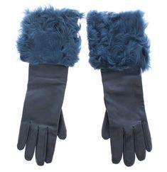 Blue Lambskin Leather Fur Logo Wrist Gloves