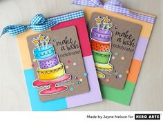 Use stamps and coordinating dies to create fun, colorful cakes! Perfect for any birthday.
