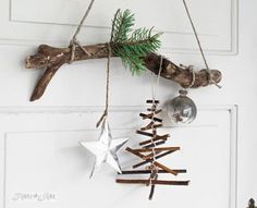 rustic twig Christmas tree ornament on a branch (Funky Junk Interiors) - Christmas Decorations & Holiday Decor Twig Christmas Tree, Natural Christmas, Rustic Christmas, All Things Christmas, Winter Christmas, Christmas Holidays, Christmas Wreaths, Christmas Ornaments, Twig Tree