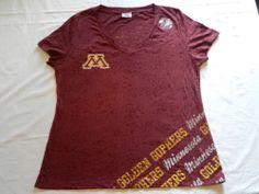 Minnesota Gophers Sz XL 16/18 Womens Shirt Short-Sleeved Sheer Burgandy Fans!