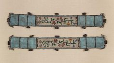 Beaded garters! Glass beads, silk ribbon, and metal lace. French, 18th century. MFA Boston, 43.2333a, b