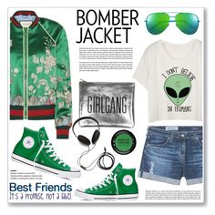 """""""silk bomber jacket"""" by nanawidia ❤ liked on Polyvore featuring AG Adriano Goldschmied, Gucci, Converse, Yves Saint Laurent, Molami and MAKE UP FOR EVER"""