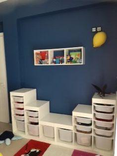 Benjamin Moore Prussian blue kids room, Ikea trofast.