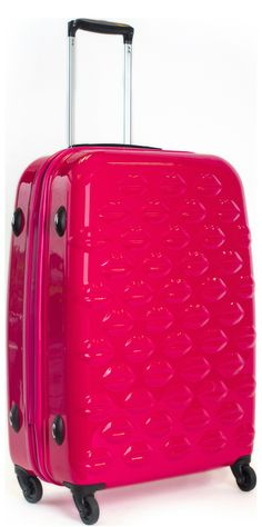 Shocking Pink Hard Sided Lips Large Spinner Case | Hard Sided ...