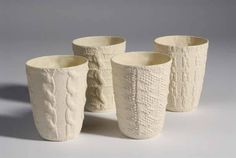 Annette Bugansky slip cast porcelain http://www.yellowhouseart.com/photos/images/CUPS_Cable_Rope_Aran_Chain.jpg
