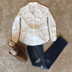 """Anne Taylor Loft White Button Down Anne Taylor Loft """"Softened"""" white button down shirt. Size S tall. Fitted for a flattering look. 100% cotton. LOFT Tops Button Down Shirts"""