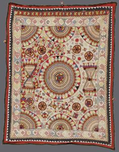 Chaklas from Gujarat, India | Silk and cotton; embroidered with geometric designs and small mica mirrors