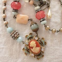 I am addicted to chains...Coral Cameo Necklace