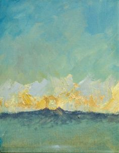 My friend Julia Dickens painted this.  It's captivating, no?  (Oil Landscape Painting: Blue Horizon. $200.00, via Etsy.)