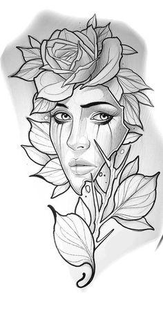 Flamingo Print Tattoo Print Flamingo Decor Gifts f Tattoo Design Drawings, Cool Art Drawings, Pencil Art Drawings, Flower Tattoo Designs, Art Drawings Sketches, Tattoo Sketches, Drawing Drawing, Drawing Ideas, Rose Tattoos