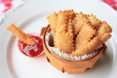 """Adorable """"Pie Fries"""" made with pie crust. Dip 'em into jam or pie-filling """"ketchup""""!"""