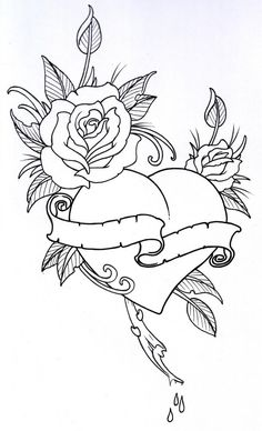 Tattoo Coloring Book Pages Beautiful Roseheart Outline 1 by Vikingtattooviantart On Heart Coloring Pages, Printable Adult Coloring Pages, Colouring Pages, Coloring Books, Rose Heart Tattoo, Heart Rose Drawing, Heart Tattoos, Mom Tattoos, Skull Tattoos