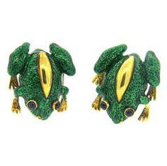 Sapphire Enamel Gold Frog Cufflinks