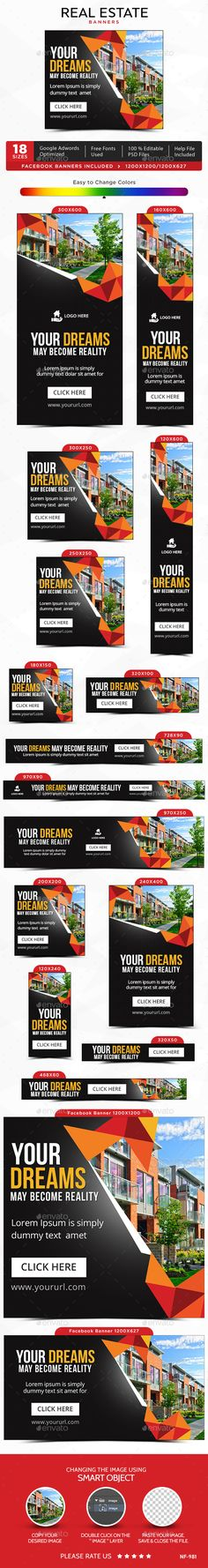 Real Estate Banners by doto Promote your Products and services with this great looking Banner Set. Real Estate Advertising, Creative Advertising, Web Banner Design, Layout Design, Web Banners, Real Estate Banner, Logo Real, Event Banner, Social Media Design