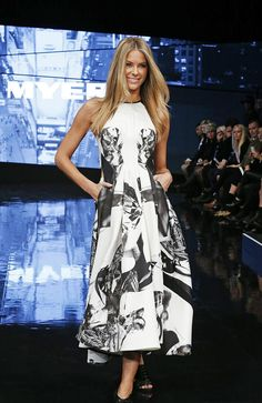 Jennifer Hawkins wearing Maticevski  at the Myer VIP autumn/winter collection launch  tonimaticevski.com
