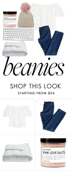 """""""Jeans and a beanie please"""" by aurorascloset ❤ liked on Polyvore featuring Valentino, J Brand, Frette, Fig+Yarrow, Jocelyn, hat, beanie, beanies, pompom and pompombeanies"""