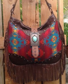 Pendleton Wool & Brown Distressed Leather  Fringed Western  Bag with Vintage Findings