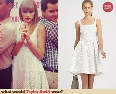 Taylor Swift's white polka dot dress at Club Red in New Jersey.  Outfit Details: http://wwtaylorw.com/2819/