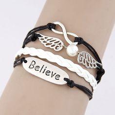 Charm Vintage Multilayer Charm Leather Bracelet Women Owl Cross Believe Bracelets Jewelry Lady Best Friends Gift