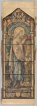 Mary the Mother of Jesus Representing Faith: Design for a Stained Glass Window, First Presbyterian Church, Flemington, New Jersey (one of a set of seven).   Art Object | The Metropolitan Museum Mobile